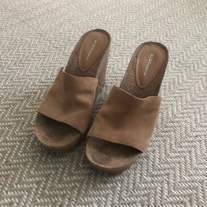 BCBGeneration tan suede wedges